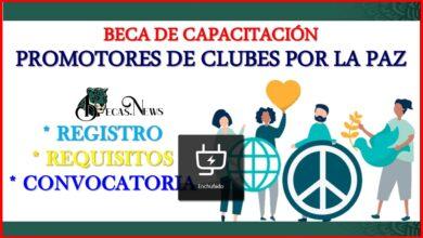 """Beca de capacitación """" Promotores de Clubes por la Paz"""" 2021-2022 Convocatoria, Registro y Requisitos"""
