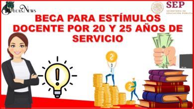 BECA PARA ESTÍMULOS DOCENTE POR 20 Y 25 AÑOS DE SERVICIO