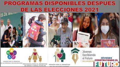 PROGRAMAS DISPONIBLES DESPÚES DE LAS ELECCIONES 2021