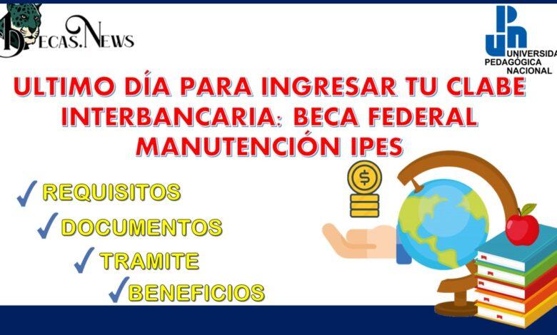 Ultimo día para ingresar tu CLABE interbancaria: Beca Federal Manutención IPES